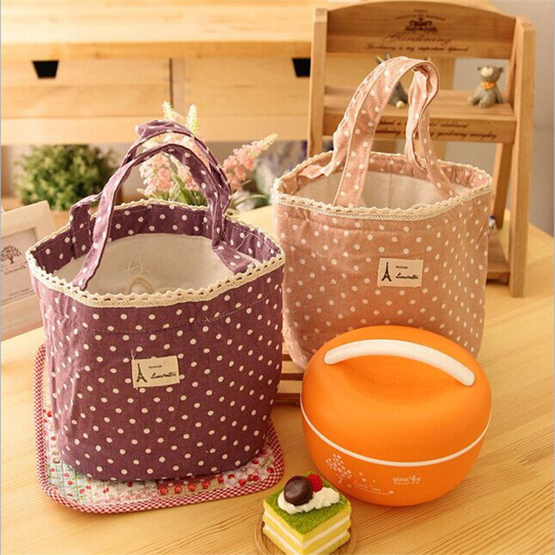 Keep Warm Portable Lunch Bag Dots Insulated Canvas Picnic Lunch Bags Women Kids Thermal Food Cooler Lunch Box Bag Tote 4 Color
