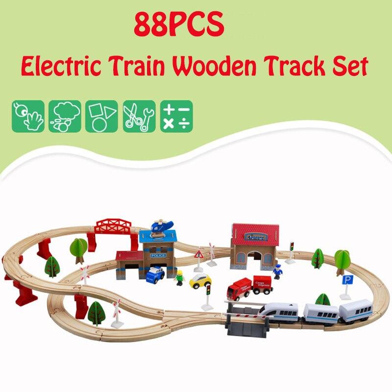 88 pcs Ferroviaire avion Train En Bois Piste Ensemble Magnétique De Voiture Modèle Puzzles En Bois Ferroviaire Tôt Jouets Éducatifs Pour Enfants Amis