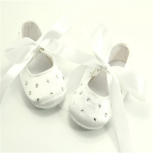 lace christening satin White Lace-up Princess Baby Girls Shoes Handmade High Quality For 0-1  Factory Price Wholesale