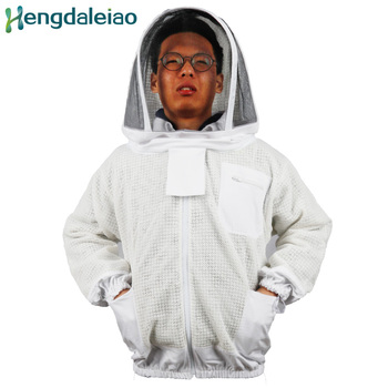 HDBC-002 Beekeeping Suits Three Layer Air Vented Mesh White Zipper Jacket with Veiled Hat