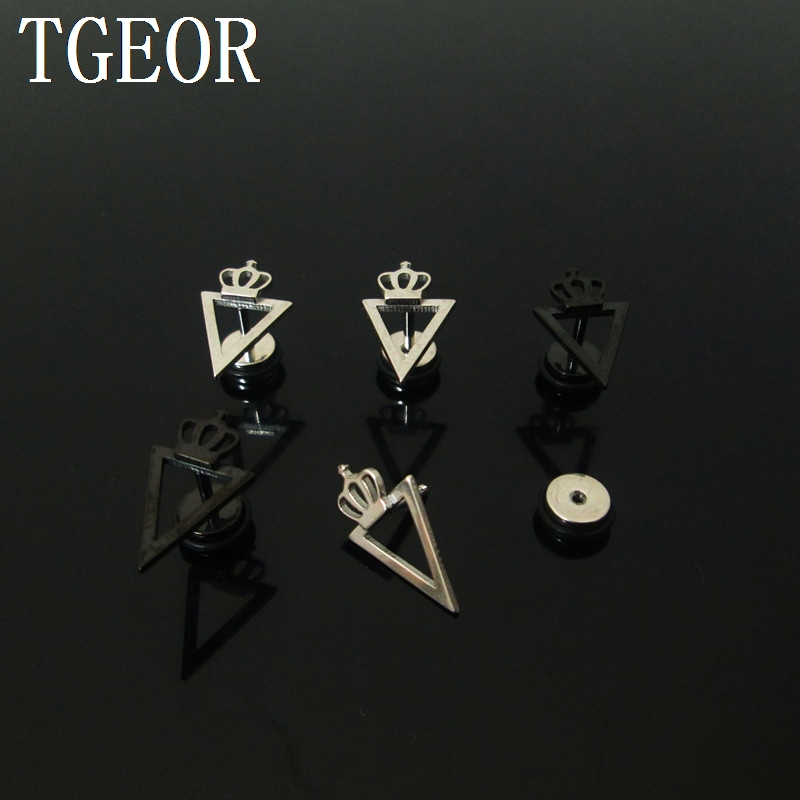 FashionL illusion cheaters 1 pair 1.2*6*6/(10*16)mm Stainless Steel crown with triangle piercing fake plugs image