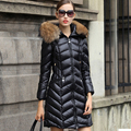 Mulheres Jaqueta de inverno 2016 Nova Marca De Luxo Para Baixo Parka Branco Jaqueta de pato Para Baixo Guaxinim Naturais da Pele Das Mulheres Casacos de Inverno E casacos