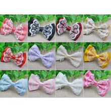 10 pcs lace satin ribbon flower bows party crafts wedding appliques B48