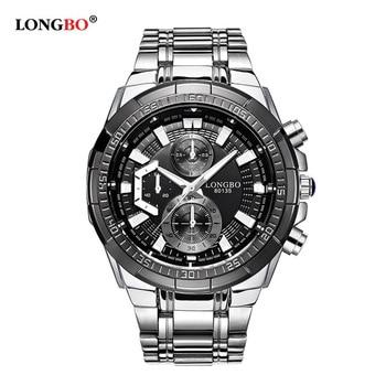 LONGBO Famous Brand Quartz Watch Silver Casual Geneva Military Men Stainless Steel Band Sports Fashion Wristwatch Men's Watch