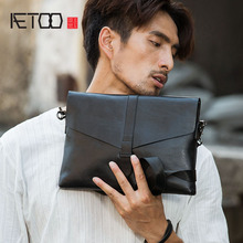 AETOO Genuine Leather Men Bag Casual Business Man Shoulder Crossbody bags Cowhide Large Capacity Travel Messenger New