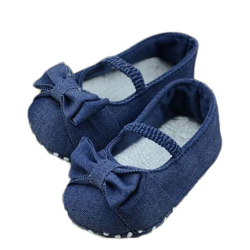 Baby Bowknot Denim First Walkers brand new babies shoes for baby girl newborn Soft Sole Breathable Crib shoes Dropshipping #20