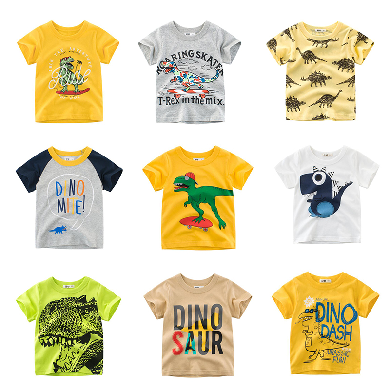 Dinoskulls Boys T Shirts Boys Tops Children Summer Short Sleeves Tee Kids Dinosaur Tshirt Summer Clothes Kids Costume 2-10y