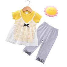 2 Pcs/set Girls Baby Sweet Style Short Sleeve Lace Tops+Pants Summer Suit