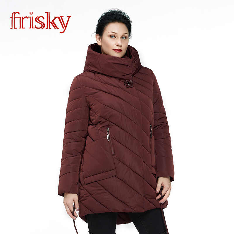 650f5edc13e 2019 Frisky Пальто женское плюс размера Резвый Новых женщин Зимний Пуховик  большего размера Женская Мода Повседневная