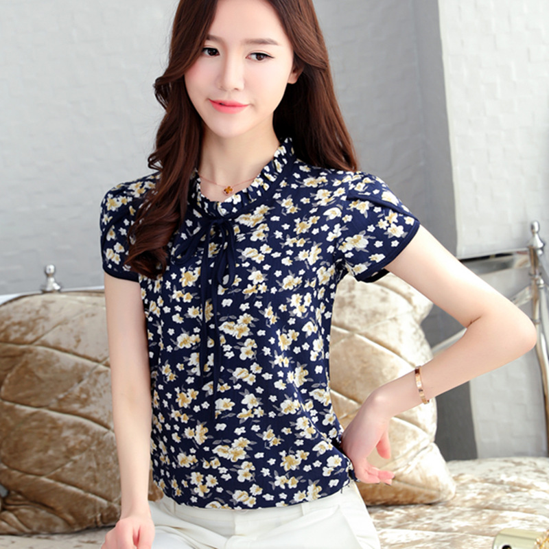 40892d1de47b New 2018 Floral Chiffon Blouses Women Summer Tops And Shirts Bow Sweet  Blouse Female Short Sleeve ...