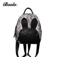 Baida New 2017 Alligator Real Genuine Leather Women Backpack Woman Korean Cute Style Ladies Bag Daily Backpack Girl School