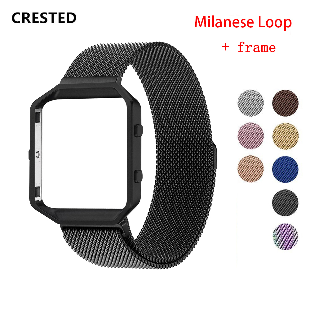 CRESTED Milanese loop strap For Fitbit Blaze watch Band Stailess Steel bracelet correa for Fitbit Smart Watch accessories+frameCRESTED Milanese loop strap For Fitbit Blaze watch Band Stailess Steel bracelet correa for Fitbit Smart Watch accessories+frame