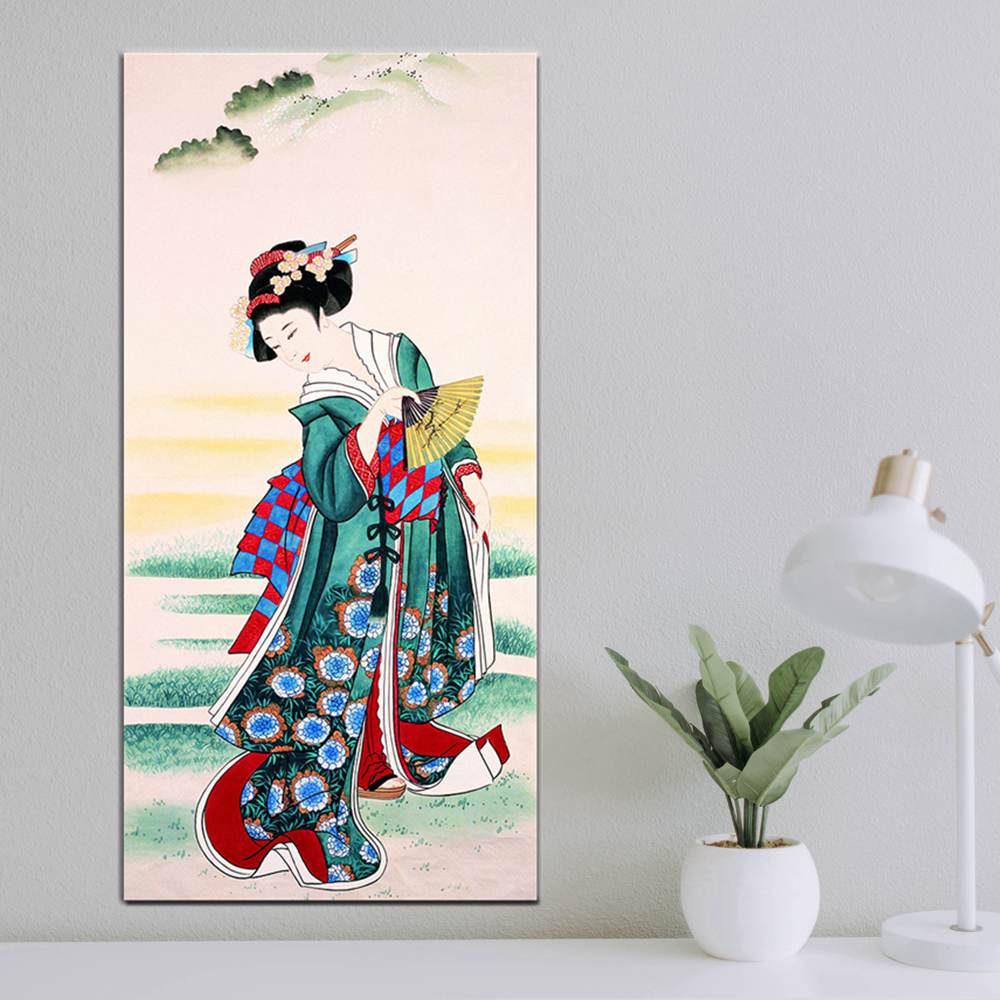5 Pieces Home Decor Canvas Abstract Flower Painting Wall Art Asian Japanese Girl