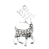 New Arrival 20pcs/lot Crystal deer Dangle Charms Lobster Clasp Hanging Charm For Bracelet&Pendant Floating Charms Jewelry