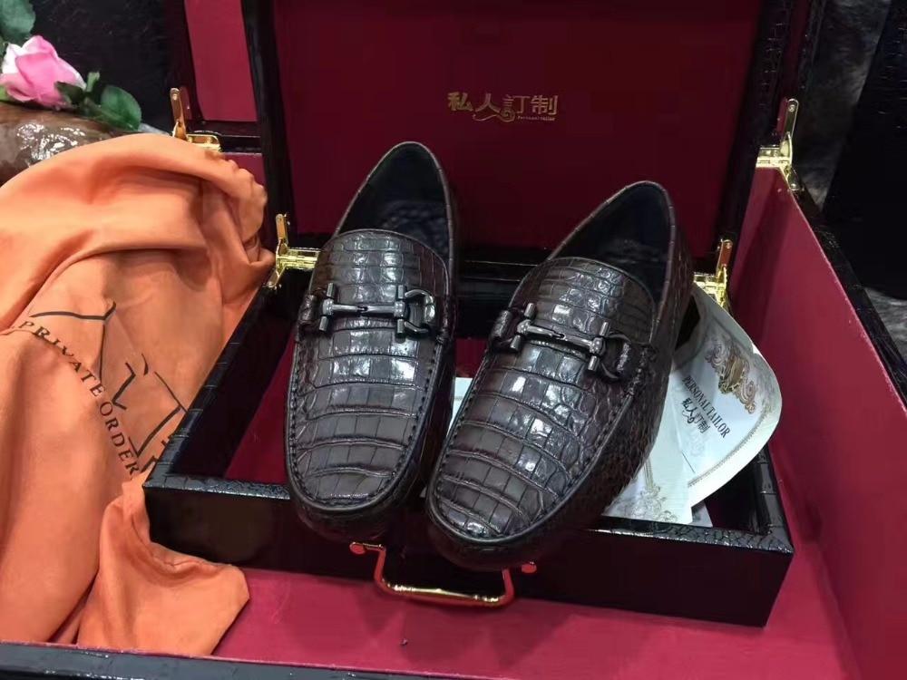 2018 Genuine real genuine crocodil skin men shoe, top quality snake skin handmade men shoe black brown color