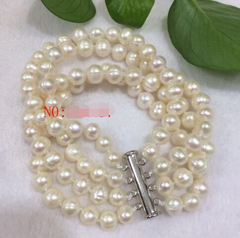 NEW 4 Strands 7-8mm White Freshwater Potato Bead Bracelet 7.5-8inch>>> women jewerly Free shipping