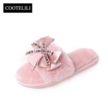COOTELILI Women Plush Home Slippers with Faux Fur Warm Shoes Woman Slip on Flats Cute Bowtie Female Slides Plus Size 41 1
