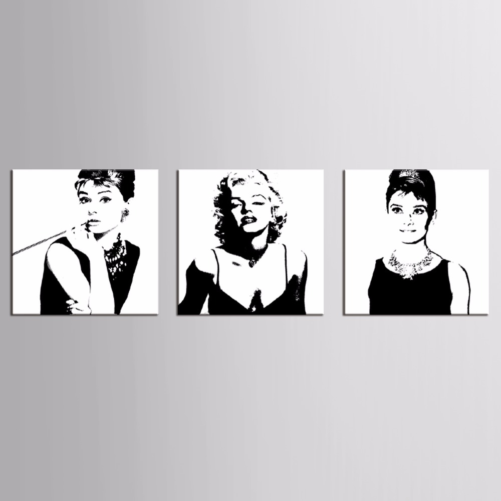 Canvas Prints Marilyn Monroe Portrait Canvas Art Home Decor Wall Art Wall Pictures American Actress Painting 3pcs image