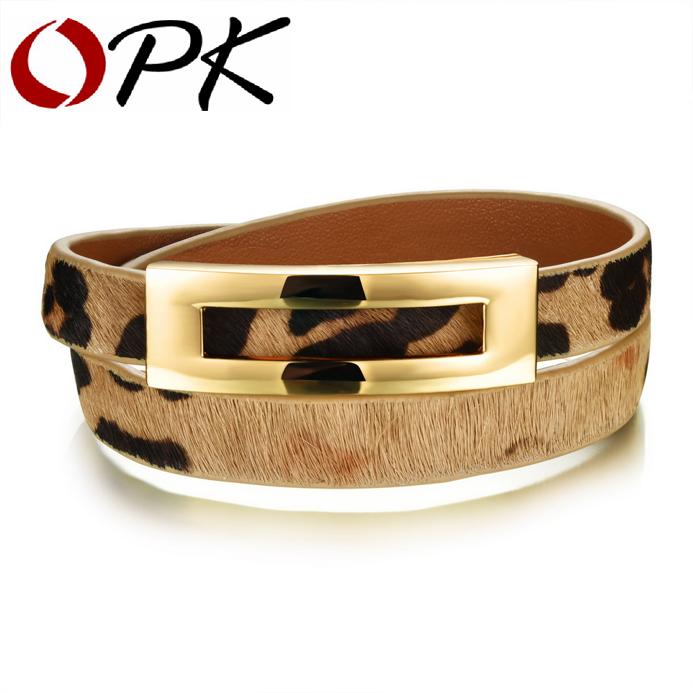 OPK Woman Leather Wrap Bracelets Casual Black/Brown/Leopard Color Double Layer Leather Women Sporty Jewelry Bracelet PH1005