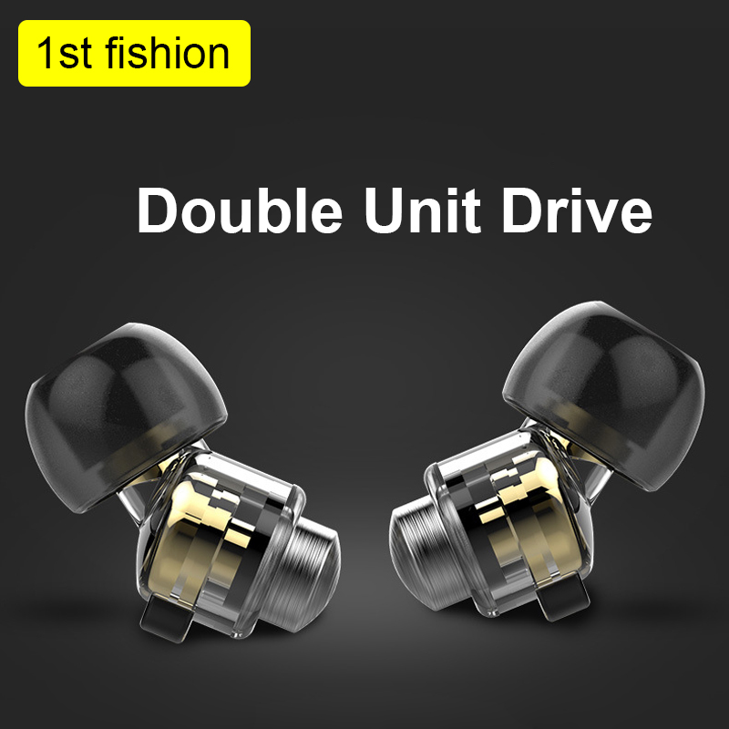 NEW Double Unit Drive In Ear Metal Earphones HIFI Bass Subwoofer With Mic high quality Subwoofer headset for iphone mobile phone freesat v7 max satellite receiver with 1 year cccam europe 1080p full hd dvb s2 support cccam newcam youtube youporn set top box