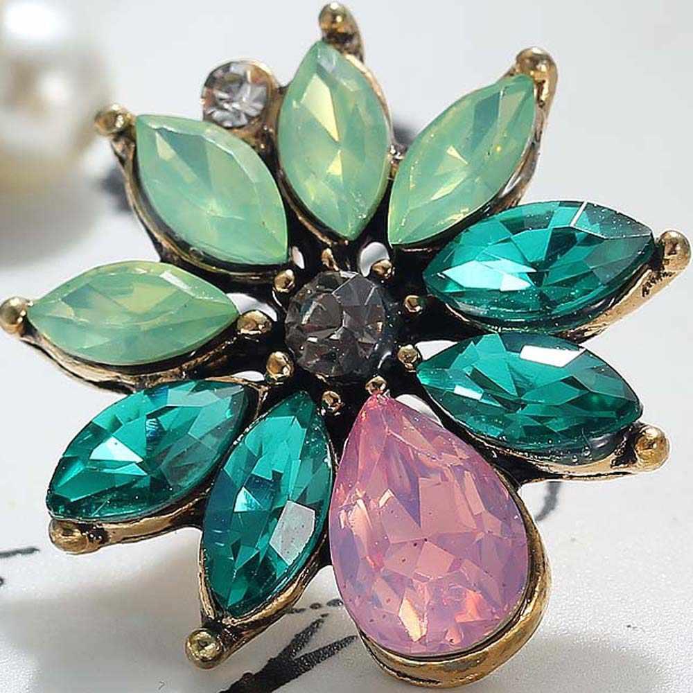 YaYi Green Pink Glass Gray White Rhinestone Pearl Dangle Earring Women's Fashion Ancient Gold Gem Earrings For Women E1119