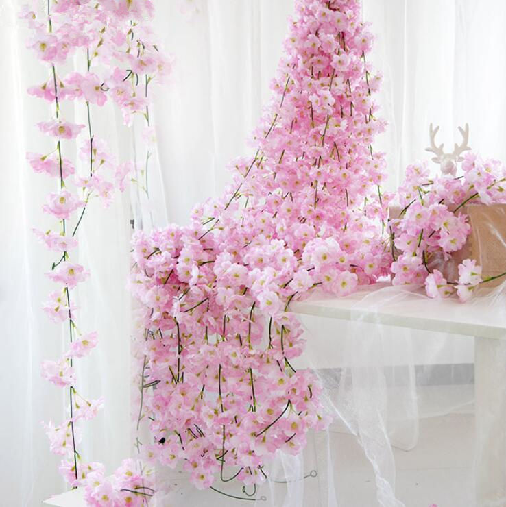 Festive & Party Supplies Artificial Decorations Artificial Flower Vine Cherry Blossom Diy Wedding Home Holiday Layout Garland Christmas Decor Fake Silk Flower Rattan Wisteria