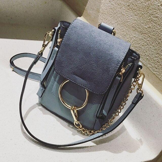 5a0f2e1d4298 2017 New Designer PU Leather Women Vintage Mini Backpack Golden Ring Chains  Bag Celebrity Shoulder Crossbody