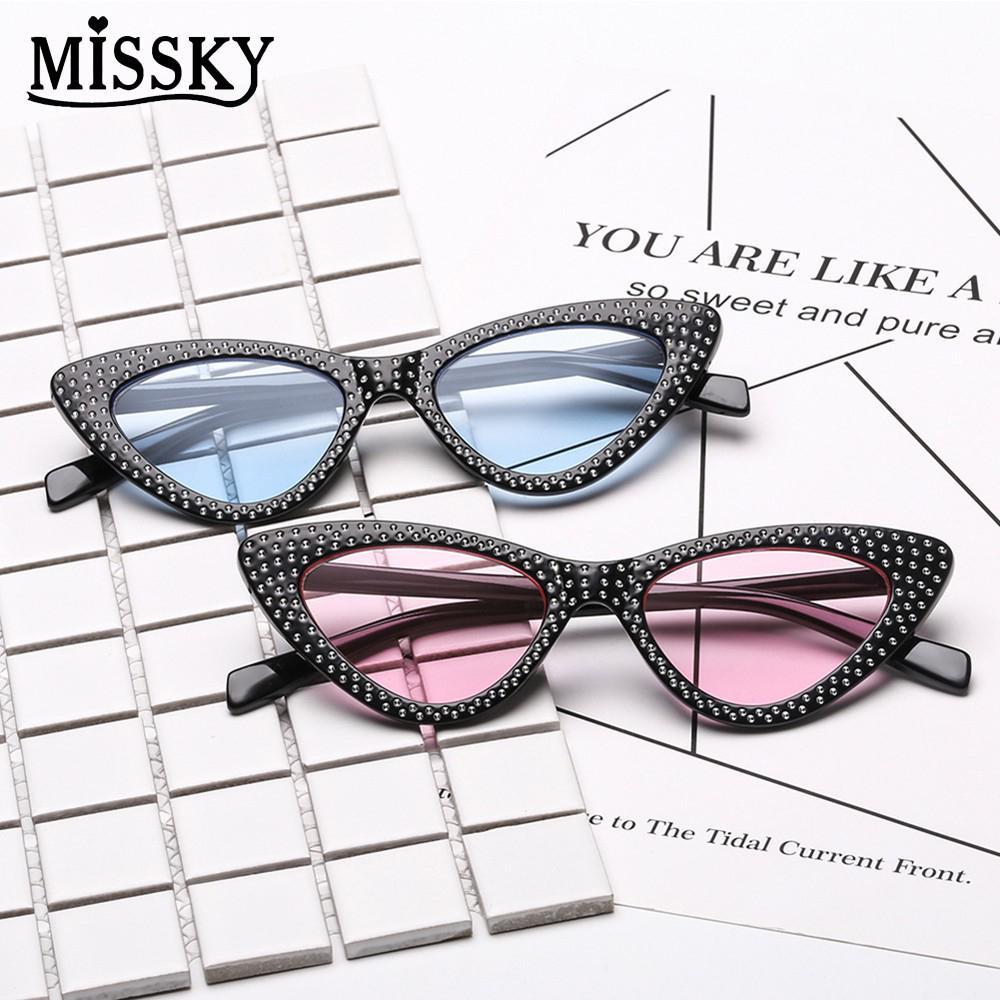 MISSKY cute sexy retro cat eye sunglasses women small black white 2018 triangle vintage cheap sun glasses red female uv400 SAN0