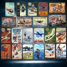 Cartel clásico de Metal de hojalata de avión americano ruso pin up chicas con avión de aire pared vintage arte pintura Poster Pub Bar decoración del hogar