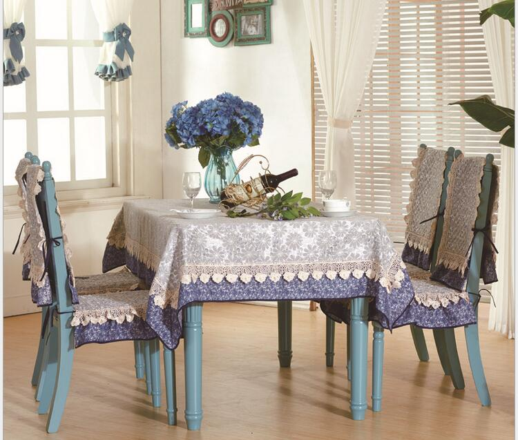 Luxury 3D Jacquard Lace Tablecloth Set Suit 130180cm Table Cloth Matching Chair Cover 1