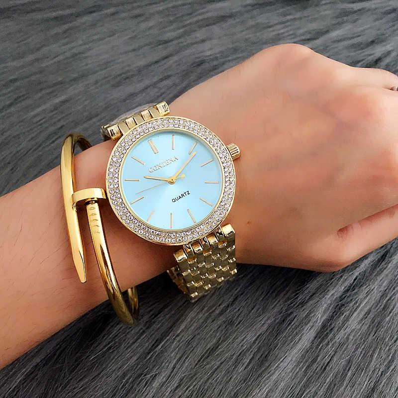 CONTENA אופנה יוקרה כסף שעון נשים שעונים ריינסטון נשים שעונים גבירותיי שעון נירוסטה שעון reloj mujer