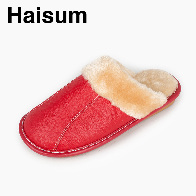 Ladies Slippers Winter genuine Leather Home Indoor Non - Slip Thermal Slippers 2018 New Hot Haisum N-266 men s slippers winter pu leather home indoor non slip thermal slippers 2018 new hot haisum h 8007