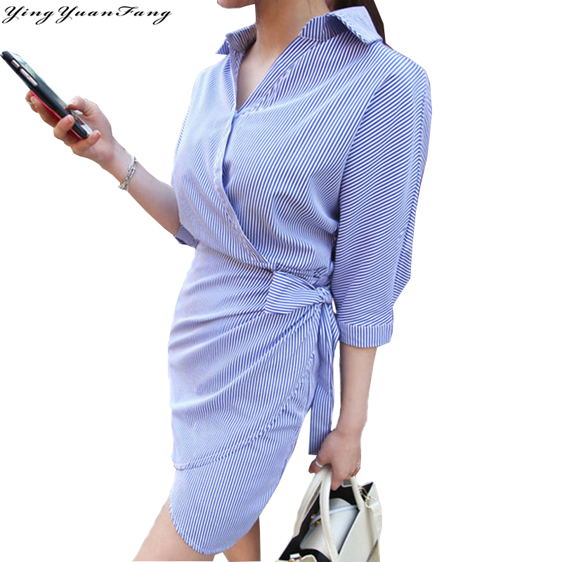YingYuanFang Fashion Asymmetric women's  Lace-up Stripe V-Neck half  sashes Dress