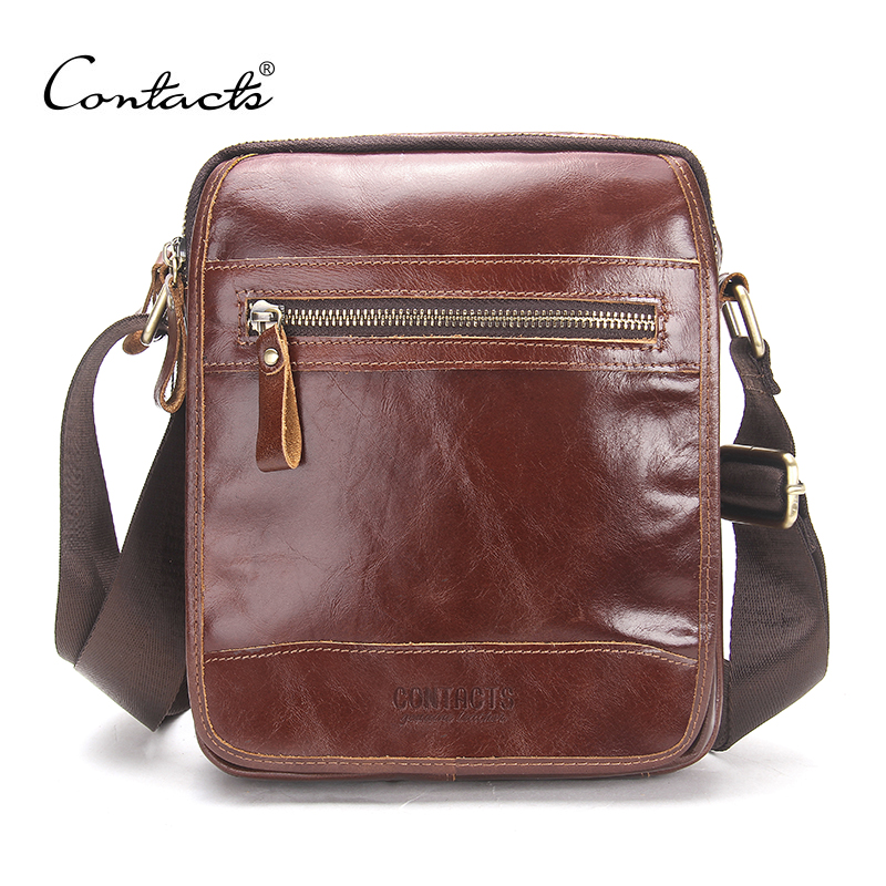 CONTACT'S New Fashion Cowhide Man Messenger Bags Genuine Leather Male Cross Body Bag Casual Men Commercial Briefcase Bag