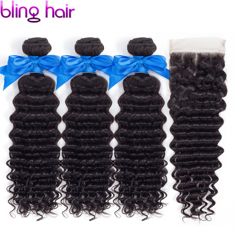 bling hair 100% Remy Deep Wave 3 Bundles with Closure Brazilian Hair Weave Bundles With Lace Closure 100% Human Hair Extensions