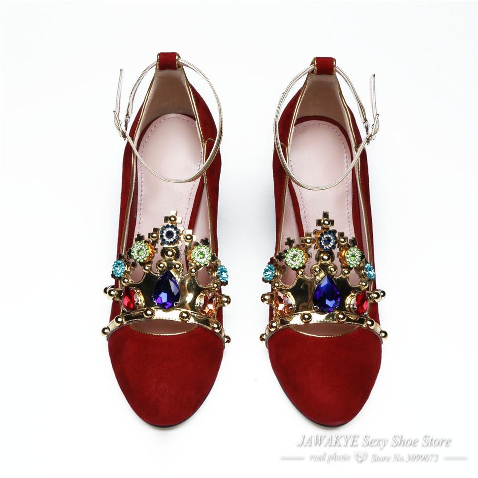 f1d52108c Sexy Metal Crown jeweled Red High heels Wedding Shoes Woman Suede Round Toe  Chunky heel ankle strap Women Pumps ladies shoes  HTB1zX59PVXXXXbxaXXXq6xXFXXXX