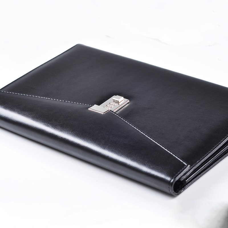 A4 Document File Folder With Lock Padfolio Fichario Password Briefcase Organzier Notebooks Handle PU Leather Office Manager Bag
