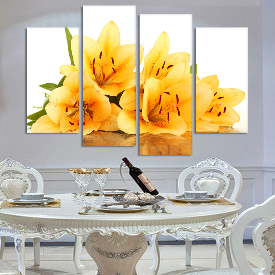 4 Piece Modern Wall Painting yellow flower Home Decorative Art ...