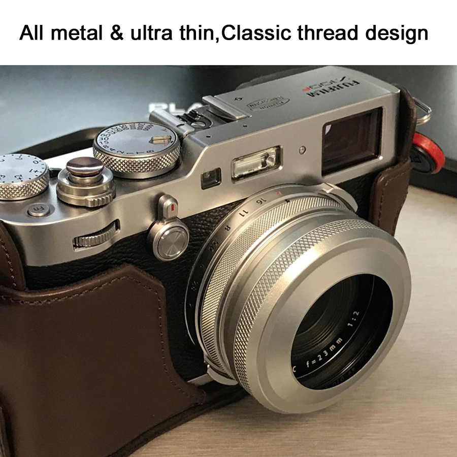 Full Metal Ultra-mince Lens Hood avec Adaptateur Anneau Fil Conception pour Fujifilm Caméra X70 X100T X100S X100
