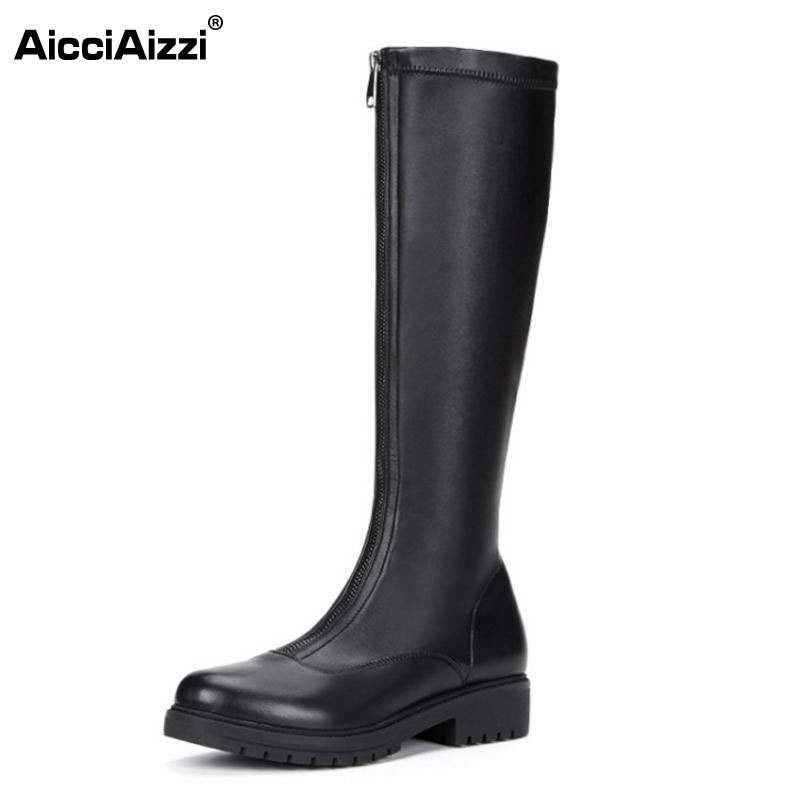 цены AicciAizzi Size 34-43 Fashion Winter Shoes Women Low Heel Knee High Winter Boots For Women Round Toe Zipper Elastic Warm Botas