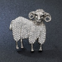 Real Austrian Rhinestone Crystal Sheep Goat Animal Brooch Pin Broach For Woman Jewelry Free shipping On Sale FA10003