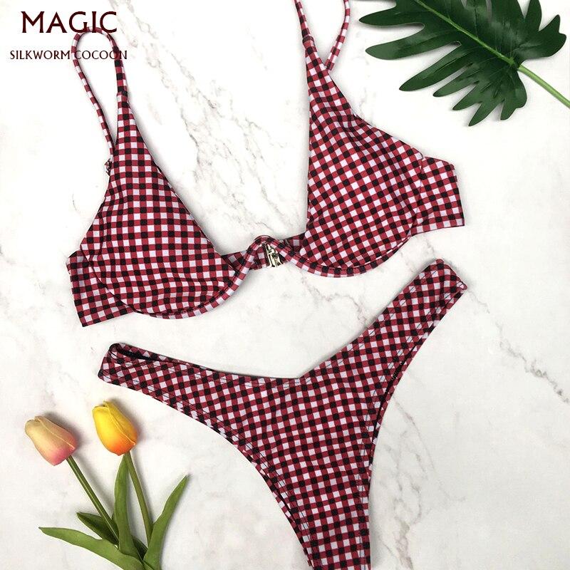 Women Fashion Plaid Print Swimming Suit Red Bikini Set Female Swimsuit Push-up Triangle Swimwear Bathing Suits Biquini Underwire