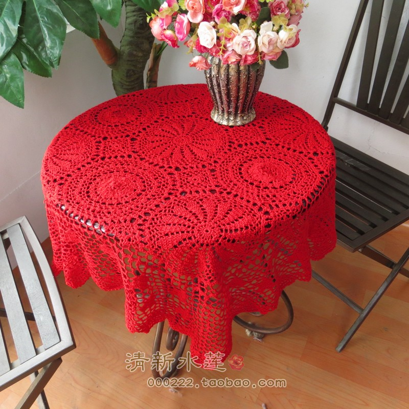 2014 New Fashion Design Cutout Cotton Knitted Tablecloth Table Cover