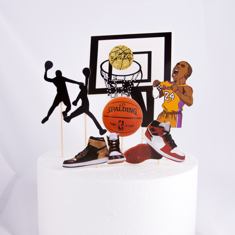 1 komplekts Basketbola sporta tēma Cake Toppers Kids Bithday Party Cake Deco piegāde