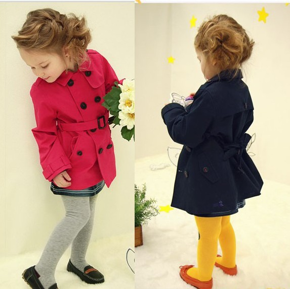 ФОТО Free shipping Children's clothing wholesale autumn winter of girl's medium style dust coat/double breasted trench coat
