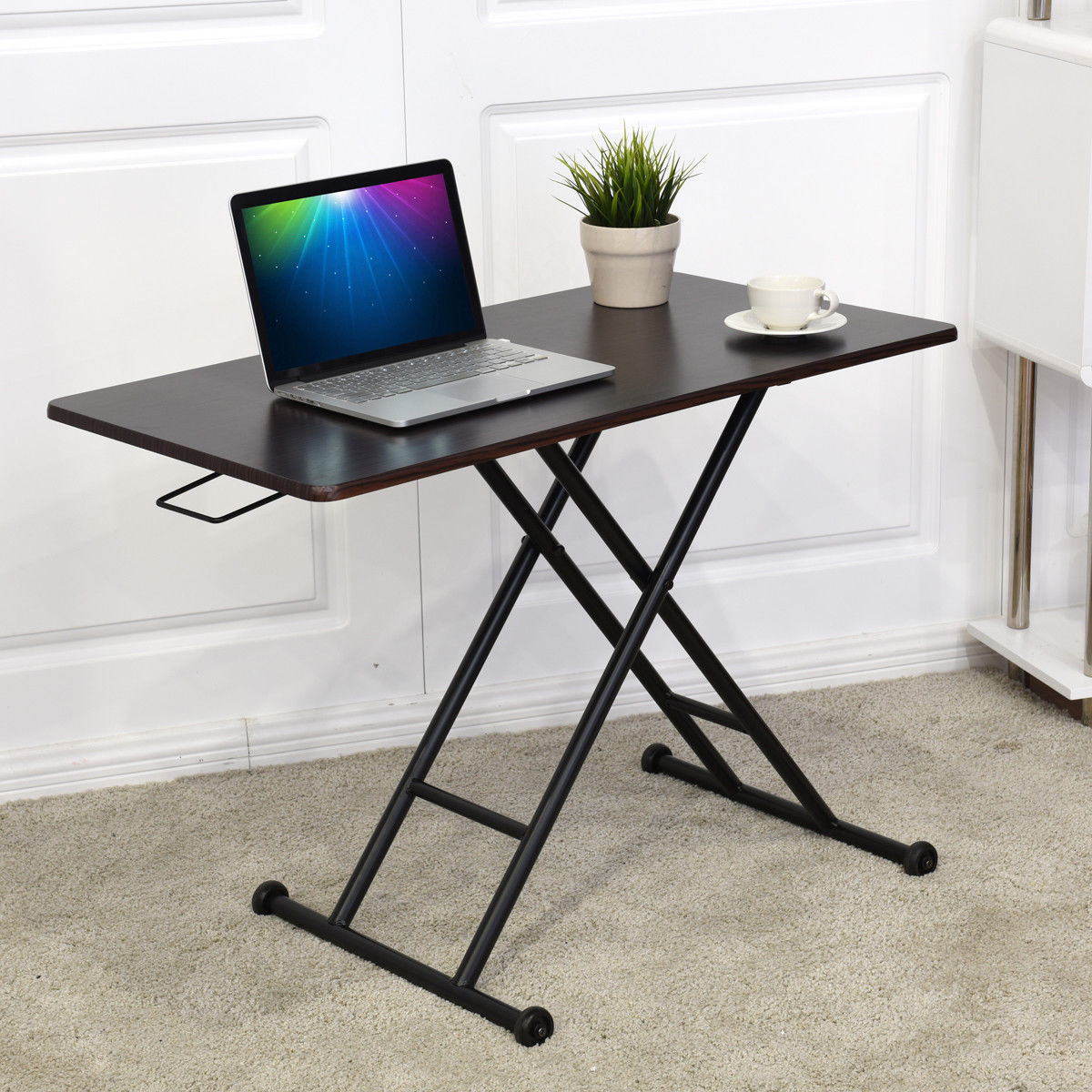 Giantex Height Adjustable Standing Desk Converter Sit-Stand Computer Laptop Workstation Modern Wood Furniture HW57064