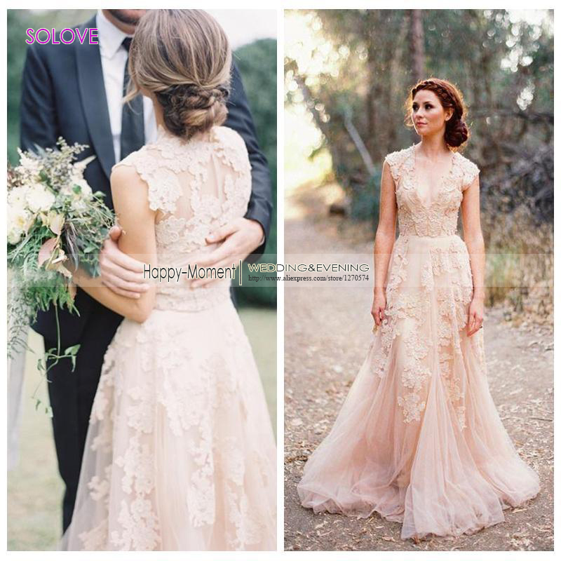 Popular Champagne Pink Wedding Dresses-Buy Cheap Champagne Pink ...