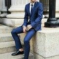 2016 de La Moda Traje Azul Marino Hombres Botones Trajes de Boda para Los Hombres de Un Solo Pecho Dos Botones Hechos A Medida Más Tamaño Terno