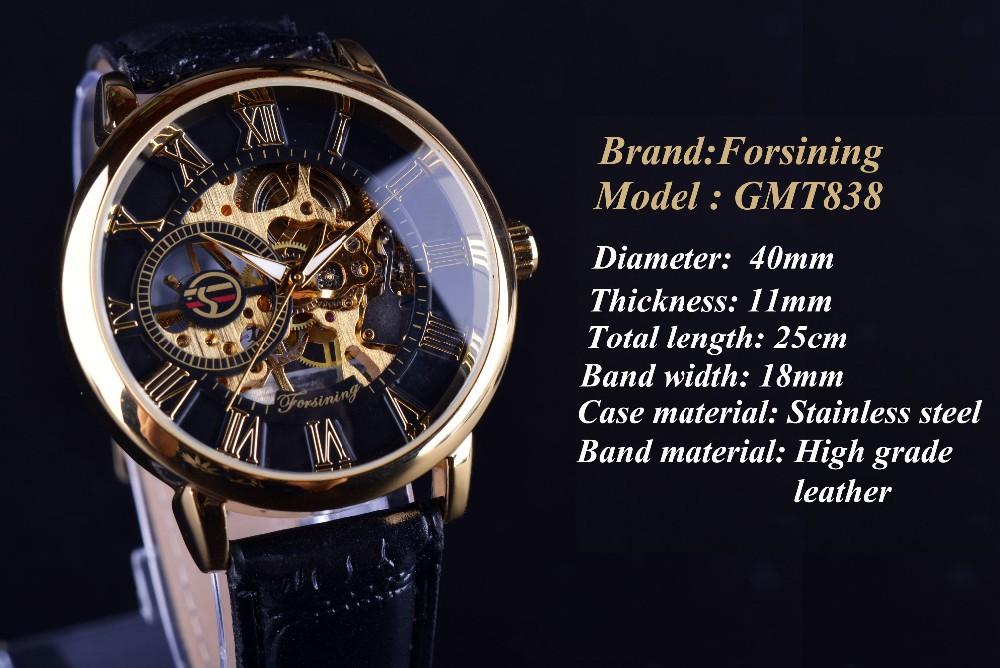 Forsining 3d Logo Design Hollow Engraving Black Gold Case Leather Skeleton Mechanical Watches Men Luxury Brand Heren Horloge 2