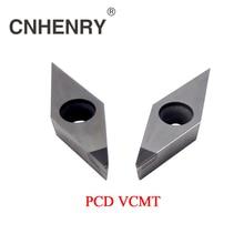 2 pcs pcd 가공 선반 터닝 인서트 vcmt 160401/02/04/08/12 cnc pcd 다이아몬드 인서트 초경 선반 커터 cnc 공구
